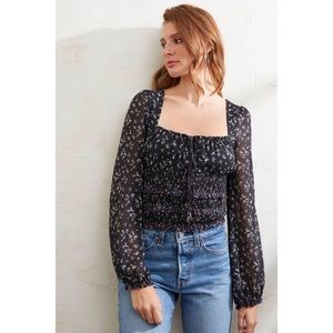 Free People Lolita Blouse Black Combo Floral